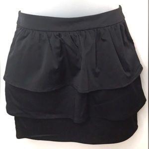 H&M Mini Skirt Black Layered Ruffle Sz 8 NWT
